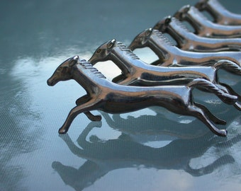 6pcs French antique  knife holder running horse silver  metal art deco KNIFE RESTS animal table art France