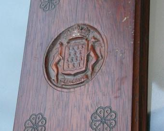 French antique  wood wooden Manu Document holder sculpture  ornate hand carved antique  coat of arm bretagne lion royal crown flower