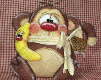 Peelin' Good Banana with Coco Monkey Pattern #212 - Primitive Doll Pattern
