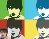 Pop Art inspired portrait for your child. Custom made. Digital file. 4 photos. pop art from photo