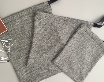 Black Tweed drawstring gift bags