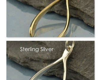 Large Natural Bronze or Sterling Silver Wishbone Charm