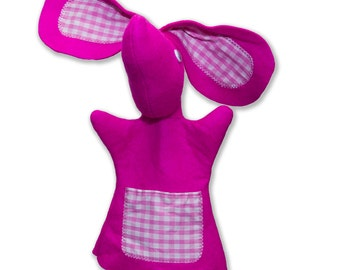 Bunny Rabbit Hand Puppets for Children - Bright Pink