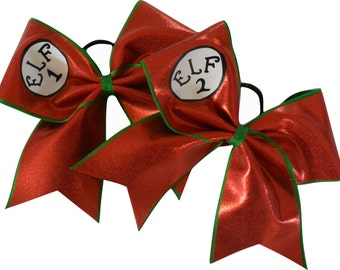 Christmas Cheer Bows Elf 1 and Elf 2 Set Cheer Bow