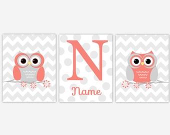 Coral Baby Girl Nursery Wall Art Owls Gray Grey Personalize Name Art Baby Nursery Owl Decor Girl Room Wall Decor Baby Nursery Decor Print