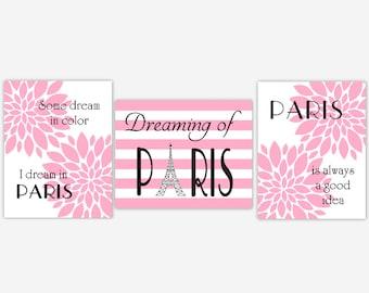 Paris Girl Nursery Wall Art Pink PARIS Girl Room Wall Decor Flower Burst Modern Floral Wall Decor Paris France Wall Decor Eiffel Tower Decor