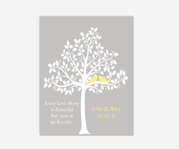 Family Tree Wedding Gift: Wedding Tree Love Poem Personalized Family Tree Art Wedding