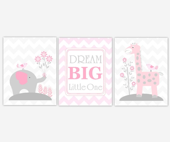 Baby girl nursery art pink gray elephant giraffe dream big for Baby girl nursery paintings