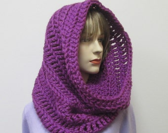Purple Infinity Scarf, Crochet Infinity Scarf, Hooded Cowl, Chunky Circle Scarf, Circle Scarves, Eternity Scarves, Victoria B2-062