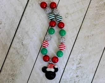 Christmas minnie mouse chunky necklace red green silver disney girls bubblegum necklace girls chunky bubble gum bead necklace