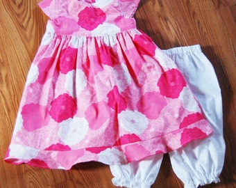 Pink Flower Dress  with Bloomers