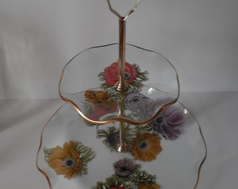 2 tier glass dessert serving Poppy dish floral dish gold floral glass crystal vintage 2 tier dish 2 tier dessert stand poppies