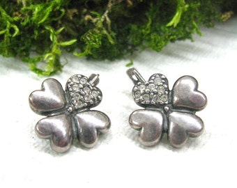 Shamrock Clover earrings  good luck Irish Celtic jewelry USSR vintage silver leverback earrings lucky clover costume jewelry St Patrick day