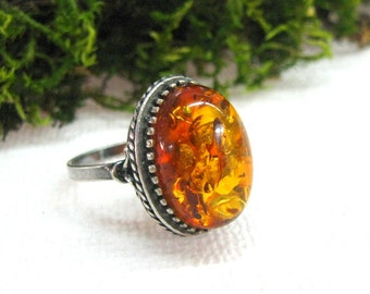 Soviet Retro Vintage Amber Ring Natural Baltic Amber jewelry womans ring size 7 8 Russian vintage fashion jewelry 80s silver statement ring