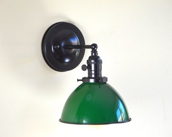 Wall Sconce Lighting with Green Metal Dome Shade