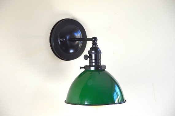 Wall Sconce Lighting with Green Metal Dome Shade SALE 10%