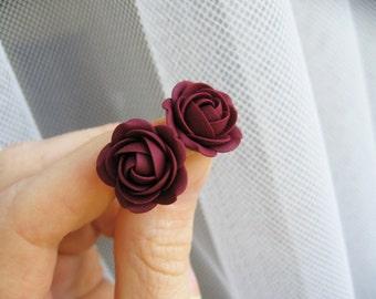 Polymer clay earrings -Dark red Bordo rose flower stud earrings