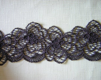 Eggplant/purple stretch lace trim by the yard