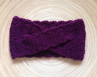 Criss Cross Crochet Headband in Burgundy