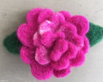 Magenta Wool Felted Rose Pin