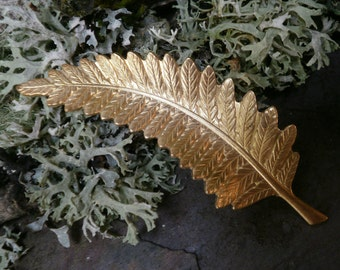 Raw Brass Stamping Large Fern Leaf