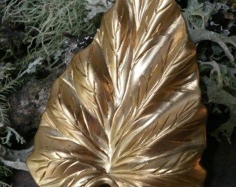 Raw Brass Stamping Large Tropical Leaf