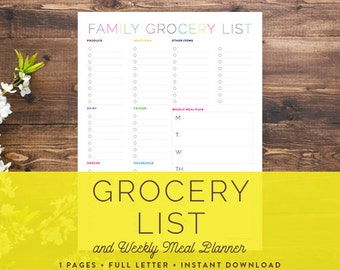 Printable Grocery List | Family Grocery List and Meal Planner: Instant Download