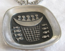 Unique 1960's Modernist Pewter Hand Signed R. Landerholm for TENNESMED Swedish Fish Pendant with Chain, Beautiful Artisan Piece!