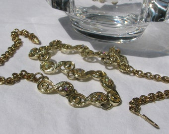 Beautiful Textured Gold Toned Scrolled Short Necklace, AB Washed Rhinestones, 17""