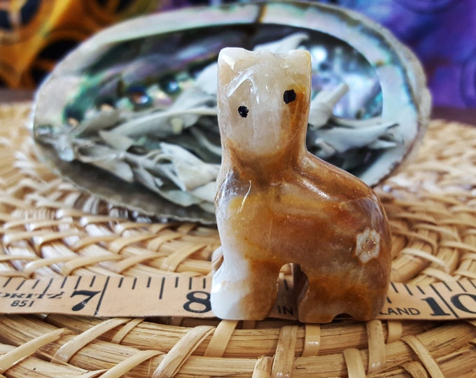 Pakistani Onyx Cat ~ One Reiki Infused gemstone cat approx 2 inches high (E05)
