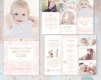 Client Welcome Guide - Newborn, Maternity and Baby - Trifold Brochure Flyer -  DL Size Sell Sheet and A4 - PG021 - Instant Download