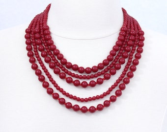 Deep Red Layered Statement Necklace Five Strand Necklace Chunky Bib Necklace Dark Red