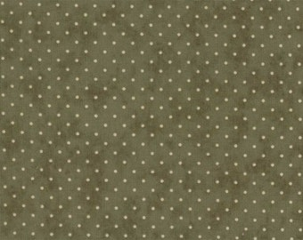 Oliver green with light olive spots ESSENTIAL DOTS quilting fabric 8654-17