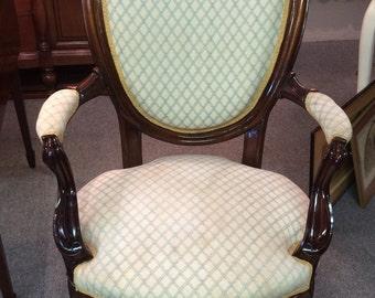 Mahogany and Upholstered Parlor Chair circa 1800
