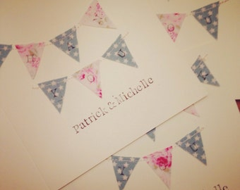 10 x Personalised Rustic, Shabby Chic Thank You Cards, Bunting Thank You Cards, Baby Thank You Cards