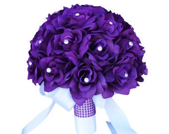"""10"""" Bridal Bouquet - All Purple Roses with Rhinestone *Pick Ribbon Color*"""