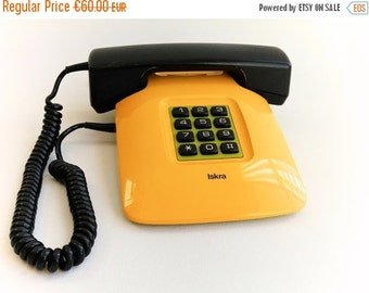 SALE Modern Design Vintage Telephone, Unique Phone, Yellow Green Desk Decor, Made in Yugoslavia, One of a Kind Telephone from 80s
