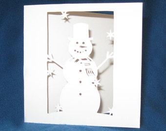 Hand Cut Snowman Card