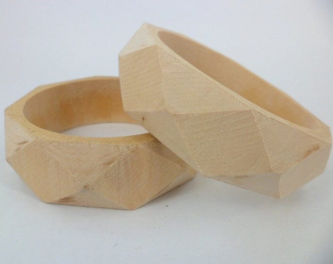 Wooden Bangles Vintage Unfinished Hexagonal One Piece Bracelet