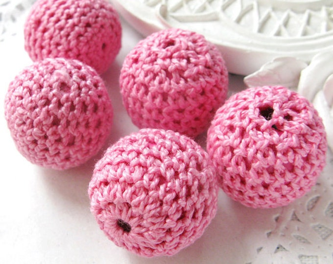 Wholesale Crochet Beads 30pc/lot 20mm Round Pink Color Ball Knitting