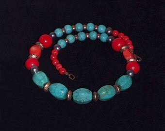 Original ethnic and elegant necklace,Gemstone necklace, Coral and turquoise necklace, Freshwater pearls and copper beads necklace