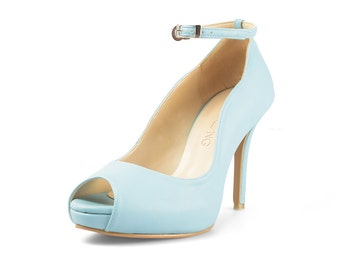 Mary Anne Blue Custom Made Heels, Pastel Blue Peep Toe Pumps, Something Blue Bridal Heels, Baby Blue Wedding Shoes