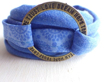 Wrap bracelet Jersey cornflower blue - love dream hope trust