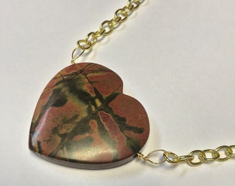 Heart Shaped Picasso Jasper in Gold Necklace by oldmanwithers