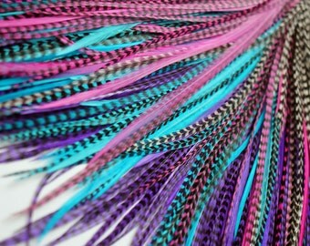 20 Real Feather Hair Extensions : B-Grade Mix #008 + Rings/Loop