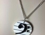 Black & White Acrylic 'Bass Clef' necklace