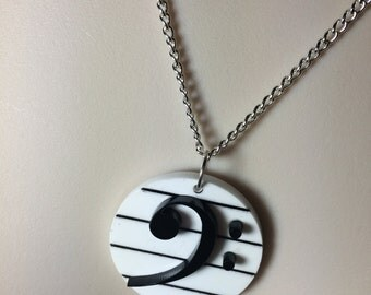Black & White Acrylic 'Bass Clef' necklace