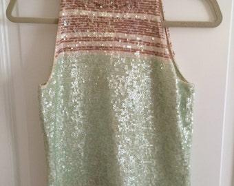 Gorgeous Vintage Sequin High Neck Top Size M
