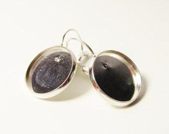 D-00293 - 4 Lever back hoop earrings silvercolor 16mm tray