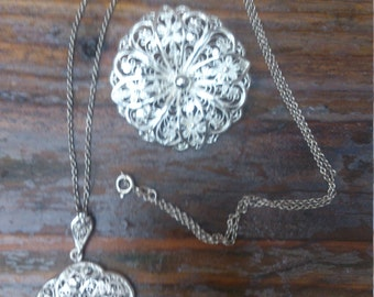 Beautiful filigree sterling silver necklace and brooch set
